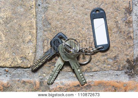 Plastic Keychain On The Floor