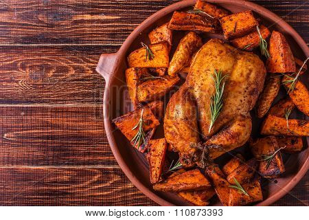 Homemade Paprika And Herb Whole Chicken With Spices Sweet Potato.