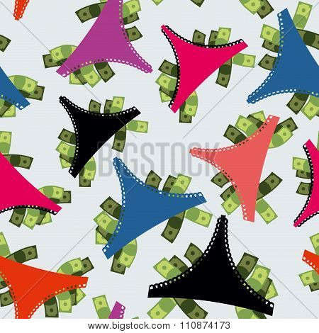 Money Panties Seamless Pattern. Panties And Many Dollars. Earnings For Strippers. Background Color O