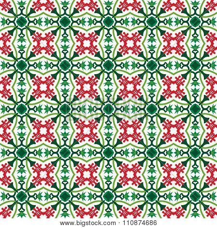 Seamless background image of red flower and green calyx pattern.