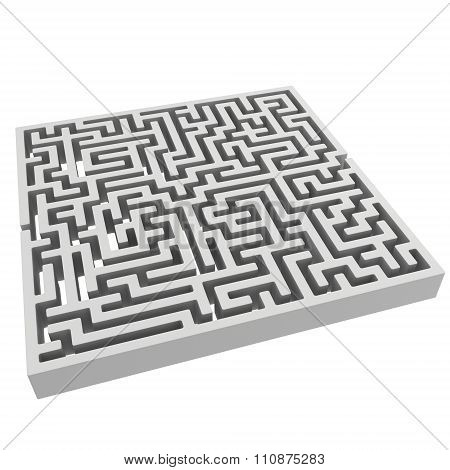3D Maze. Labyrinth Shape Design Element.