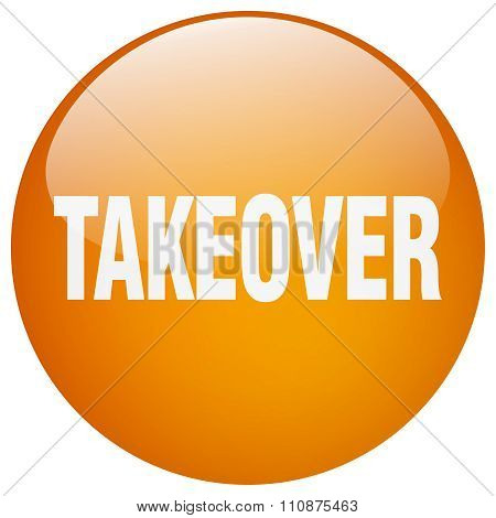 Takeover Orange Round Gel Isolated Push Button
