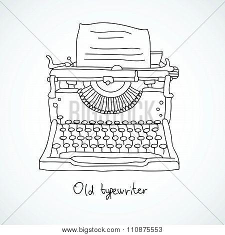 Old typewriter. Vector