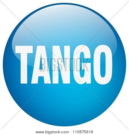 Tango Blue Round Gel Isolated Push Button