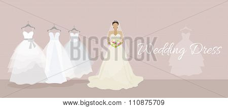 Wedding dress design flat style
