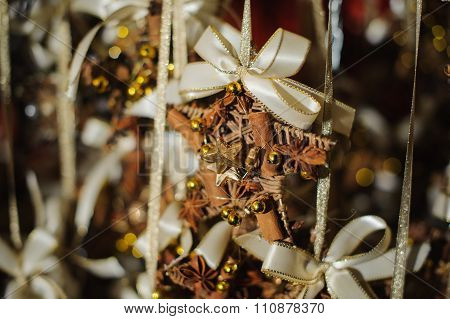 Christmas Tree Decor Made Of Wicker, Spices And Decorations
