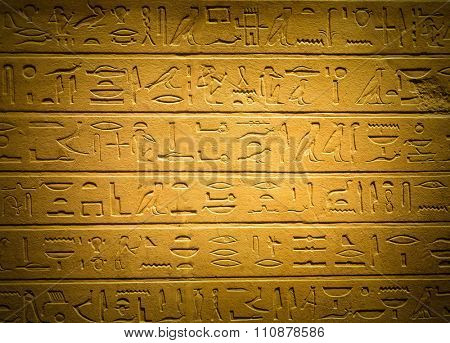 Ancient egyptian hieroglyphs carved on sandstone