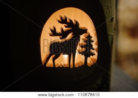 Beautiful Christmas Decoration Wooden Candle Holder With Deer