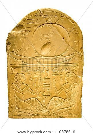 Clay tablet with ancient egyptian hieroglyphs containing human figures - Isolated on white with clipping path