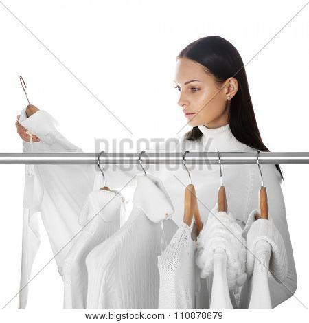 Beautiful woman shopping during winter sale season