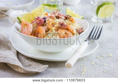 Bowl Of Delicious  Seafood Risotto