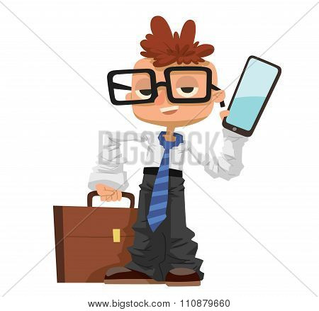Little schoolboy like businessman with business case, phone, glasses