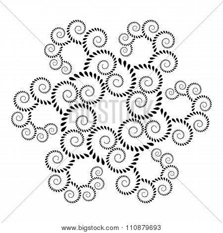Laurel wreath tattoo icon. Floral spiral, twirl, swirl ornament. Defense, belief, glory symbol. Vect