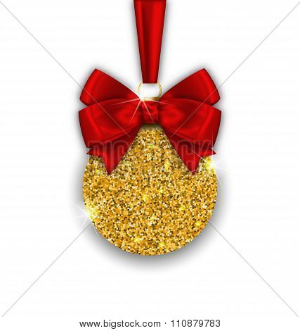 Glitter Christmas Ball with Golden Surface