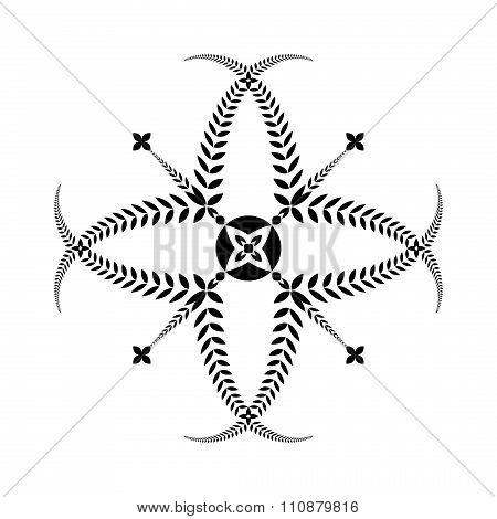 Laurel wreath tattoo. Cross sign on white background. Black ornament. Defense, peace, glory symbol.