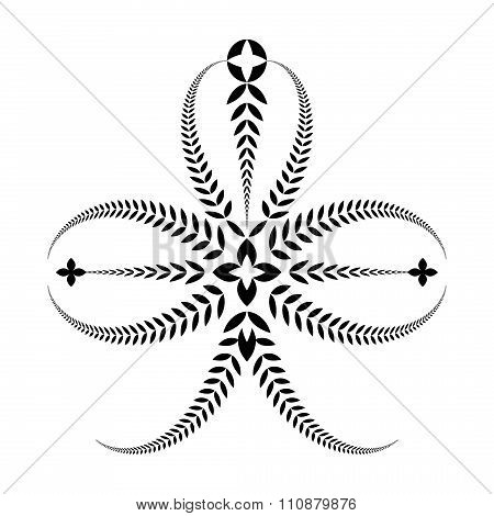 Laurel wreath tattoo. Trefoil, trifolium. Black ornament. Three-leaved sign on white background. Def