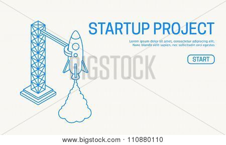 Rocket launch icon. Vector illustration eps 10
