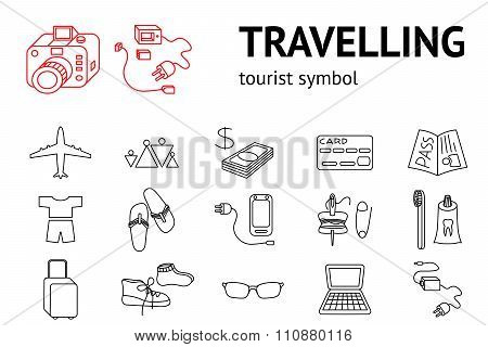 Travel icons set. Tourism, journey, vacation accessories symbol. Line signs. Travelling memo, instru