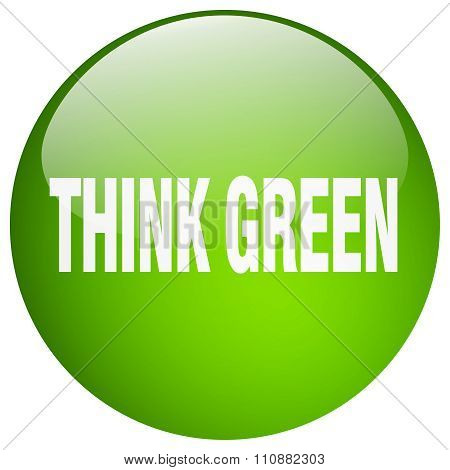 Think Green Green Round Gel Isolated Push Button