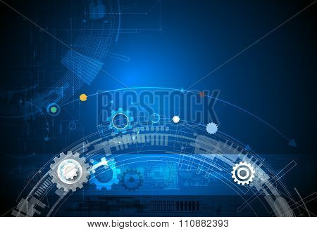 Vector illustration gear wheel, hexagons and circuit board 3-15