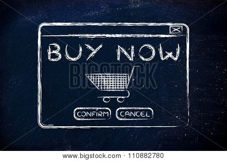 Illustration Of Pop-up Window With Text Buy Now And Cart