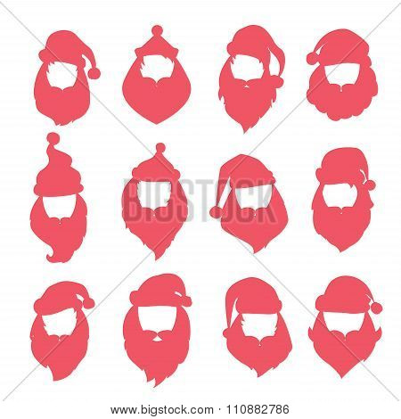 Portrait Santa Claus coloreful face icons silhouette