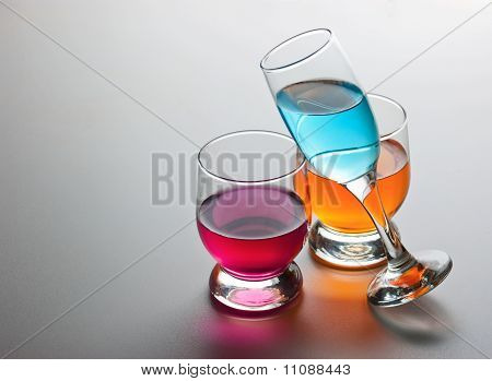 Three Glasses With Drinks