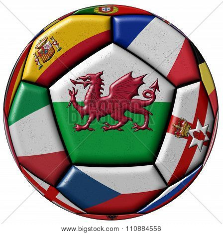 Soccer Ball With Flag Of Wales In The Center