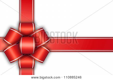 White Empty Card With Red Bow