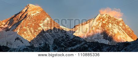 Panoramic View Of Everest And Lhotse From Gokyo Valley
