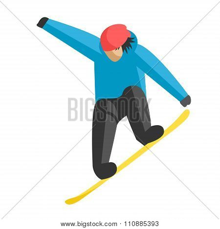 Snowboarder jumping pose on winter outdoor background