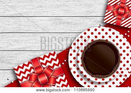 Presents With Cup Of Coffee And Place For Text