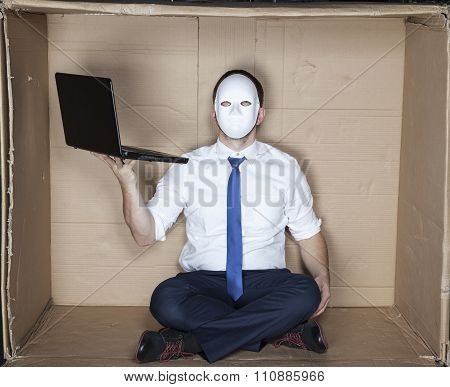 Hacker Wearing Mask And Tie