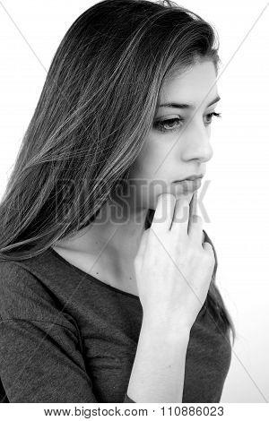 Black And White Portrait Of Sad Girl Thinking