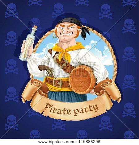 Cute Boatswain With A Barrel. Banner For Pirate Party