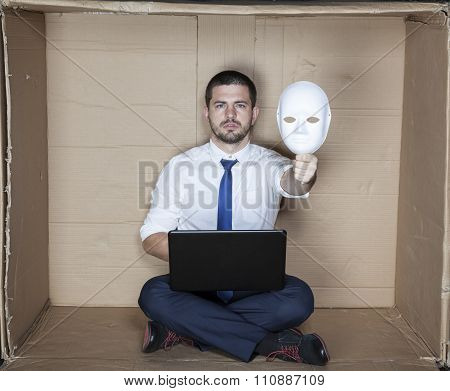 Under The Mask Hides Businessman