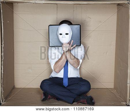 Hacker Behind Computer And Mask