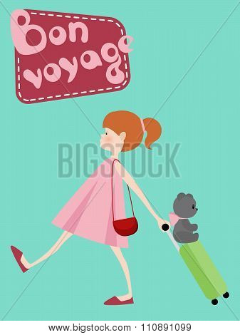 Cute girl with suitcase toy bear and Bon Voyage