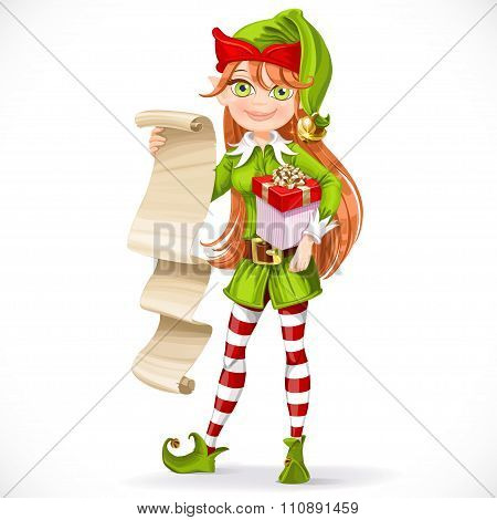 Cute Girl Santa Elf With List On Parchment