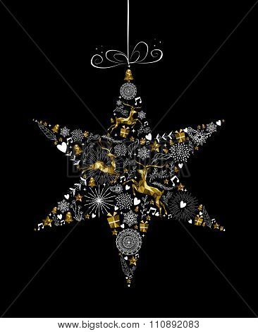 Christmas New Year Star Decoration Gold Deer Shape