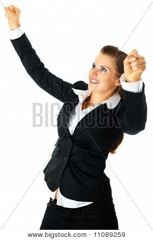 Excited modern business woman enjoying her success isolated on white