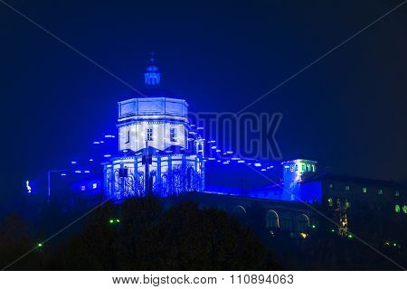 Blue lights on Monte dei Cappuccini in Turin, Italy
