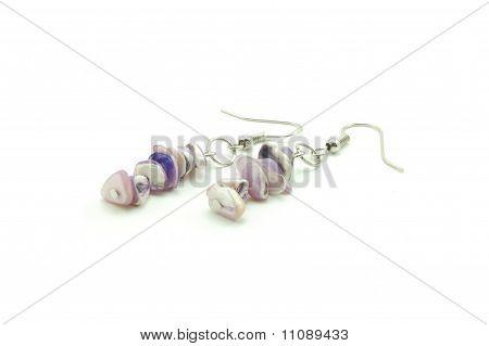 violet bead earrings