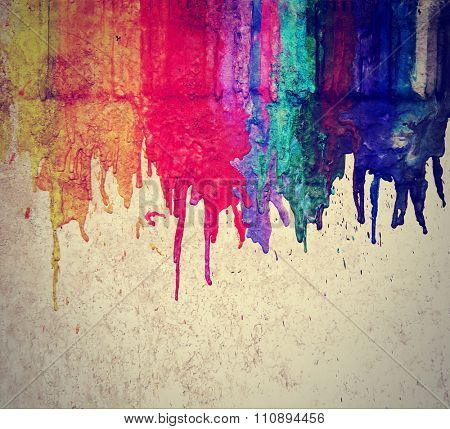 image from color and texture background series (melted coloring crayons) good for back to school theme or teaching school children primary colors done with a retro vintage instagram filter