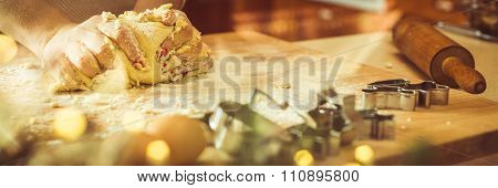 Woman Kneading Christmas Dough