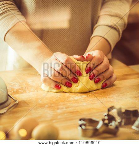 Kneading Dough For Christmas Cookies