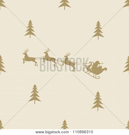 christmas reindeer sleight seamless line pattern tile background