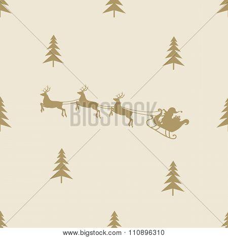 christmas reindeer sleight seamless line pattern tile background