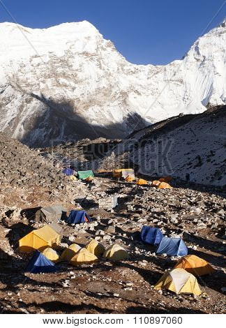 Base Camp Of Island Peak (imja Tse) Near Mount Everest