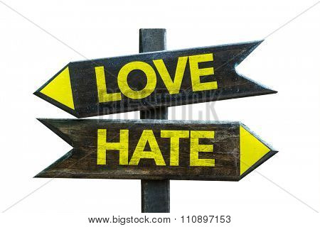 Love - Hate signpost isolated on white background